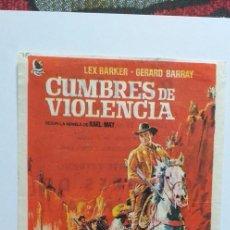 Cine: CUMBRES DE VIOLENCIA LEX BARKER PROGRAMA DE CINE CON PUBLICIDAD. Lote 204391313