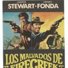 Cine: FOLLETO DE MANO ORIGINAL DE LA PELICULA: LOS MALVADOS DE FIRECREEK. Lote 204403787