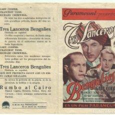 Foglietti di film di film antichi di cinema: PTCC 050 TRES LANCEROS BENGALIES PROGRAMA DOBLE PARAMOUNT GARY COOPER A. Lote 204432180