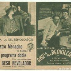 Cine: PTCC 051 ANA LA DEL REMOLCADOR PROGRAMA DOBLE MGM MARIE DRESSLER WALLACE BEERY MAUREEN O'SULLIVAN V. Lote 204445551