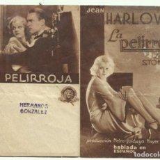 Cine: PTCC 051 LA PELIRROJA PROGRAMA DOBLE MGM JEAN HARLOW CHESTER MORRIS. Lote 204486250