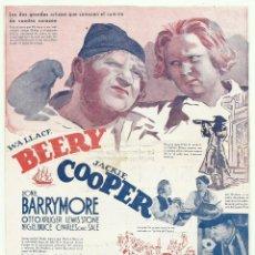 Cine: PTCC 051 LA ISLA DEL TESORO PROGRAMA DOBLE MGM WALLACE BEERY JACKIE COOPER LIONEL BARRYMORE GRIS. Lote 204486395