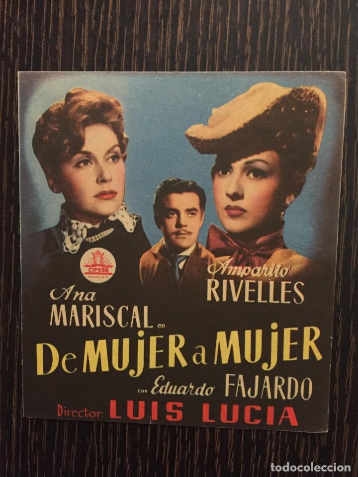 DE MUJER A MUJER - DOBLE CIFESA - CON PUBLICIDAD (Cine - Folletos de Mano - Clásico Español)