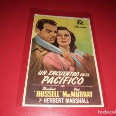 Cine: UN ENCUENTRO EN EL PACIFICO CON FRED MACMURRAY. PUBLICIDAD AL DORSO.1943. Lote 204596210
