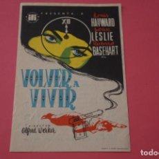 Cine: FOLLETO DE MANO PROGRAMA DE VOLVER A VIVIR CON PUBLICIDAD LOTE 10 MIRAR FOTO. Lote 204674925