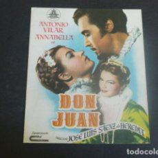 Cine: DON JUAN PROGRAMA DE MANO DOBLE SIN PUBLICIDAD. Lote 204682098