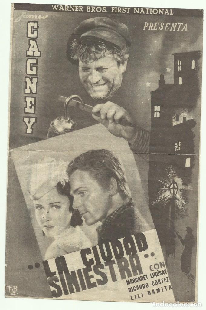 PTCC 053 LA CIUDAD SINIESTRA PROGRAMA DOBLE GRIS WARNER JAMES CAGNEY MARGARET LINDSAY (Cine - Folletos de Mano - Suspense)