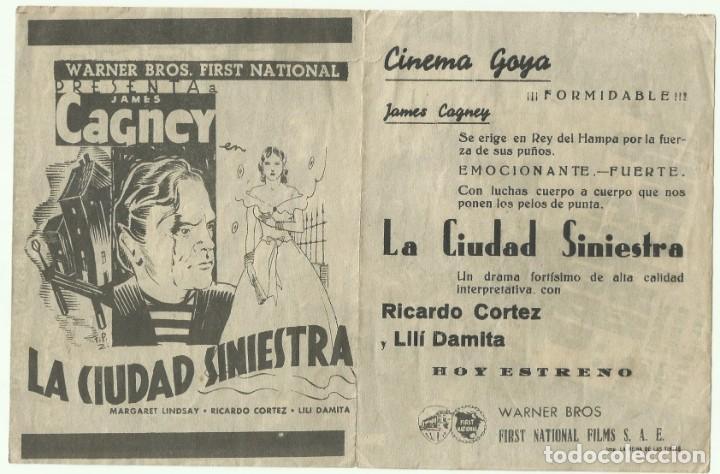 Cine: PTCC 053 LA CIUDAD SINIESTRA PROGRAMA doble gris WARNER JAMES CAGNEY MARGARET LINDSAY - Foto 2 - 204686390