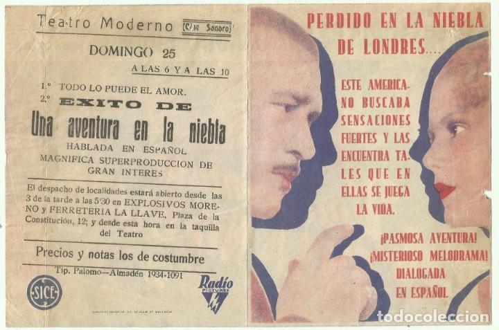 PTCC 053 UNA AVENTURA EN LA NIEBLA PROGRAMA DOBLE RKO ROBERT YOUNG RALPH BELLAMY ROBERT ARMSTRONG A (Cine - Folletos de Mano - Suspense)