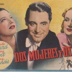 Folhetos de mão de filmes antigos de cinema: PROG. – DOS MUJERES Y UN AMOR - CAROLE LOMBARD, GARY G - CINES VICTORIA, ZORRILLA - BADALONA -1944. Lote 204710098
