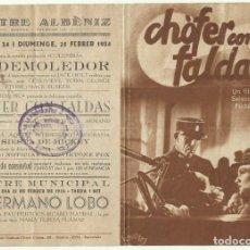 Cine: PTCC 053 CHOFER CON FALDAS PROGRAMA DOBLE SELECCIONES FILMOFONO JEANNE BOITEL ARMAND BERNARD. Lote 204716170