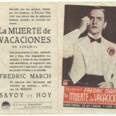 Flyers Publicitaires de films Anciens: PTCC 053 LA MUERTE DE VACACIONES PROGRAMA DOBLE PARAMOUNT FREDRIC MARCH EVELYN VENABLE GAIL PATRICK. Lote 204721752