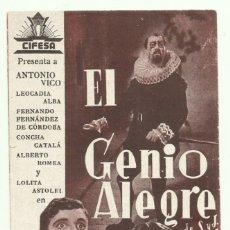 Cine: PTCC 054 EL GENIO ALEGRE PROGRAMA SENCILLO CIFESA CINE ESPAÑOL ANTONIO VICO DORSO ARRIBA ESPAÑA. Lote 204795386