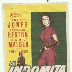 Cine: PTCC 055 LA INDOMITA PROGRAMA SENCILLO FILMAX JENNIFER JONES CHARLTON HESTON KARL MALDEN KING VIDOR. Lote 204811425