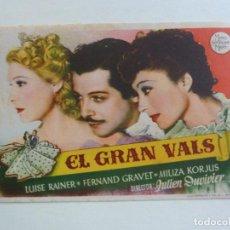 Foglietti di film di film antichi di cinema: EL GRAN VALS. SELLO CINE. Lote 204811793