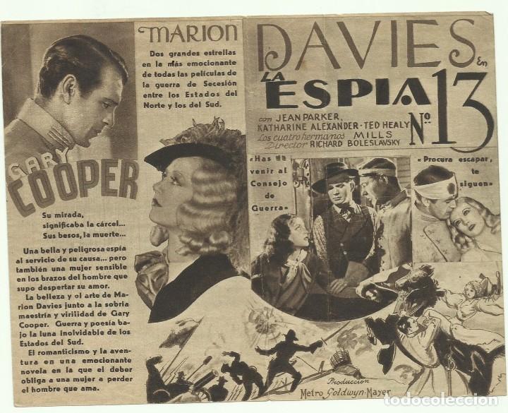 PTCC 055 LA ESPIA NUMERO 13 / EL OPERADOR NUMERO 13 PROGRAMA DOBLE MGM GARY COOPER MARION DAVIES (Cine - Folletos de Mano - Suspense)