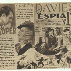 Cine: PTCC 055 LA ESPIA NUMERO 13 / EL OPERADOR NUMERO 13 PROGRAMA DOBLE MGM GARY COOPER MARION DAVIES. Lote 204812396