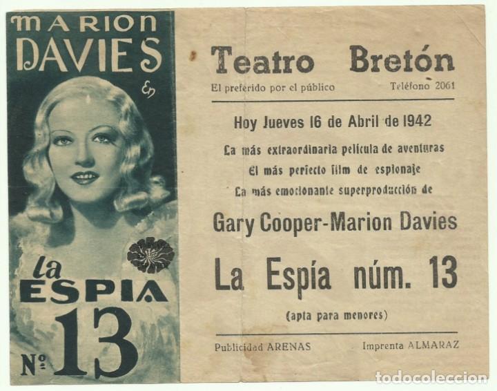 Cine: PTCC 055 LA ESPIA NUMERO 13 / EL OPERADOR NUMERO 13 PROGRAMA DOBLE MGM GARY COOPER MARION DAVIES - Foto 2 - 204812396