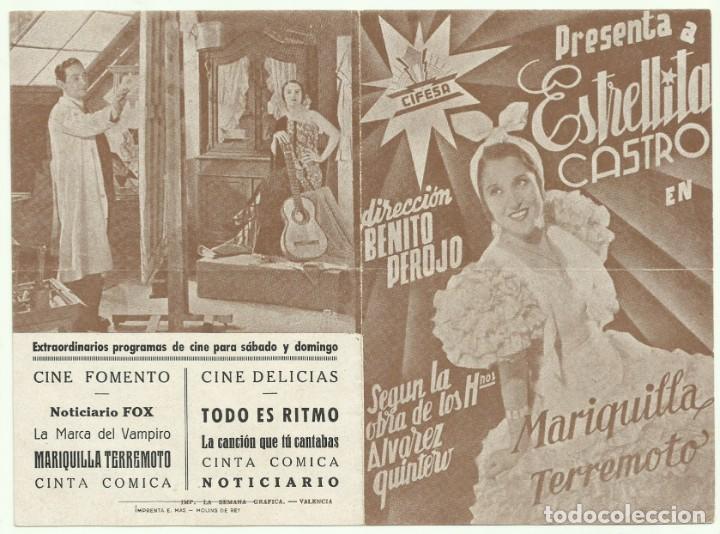 PTCC 057 MARIQUILLA TERREMOTO PROGRAMA DOBLE CANCIONERO CIFESA MARRONCINE ESPAÑOL ESTRELLITA CASTRO (Cine - Folletos de Mano - Clásico Español)