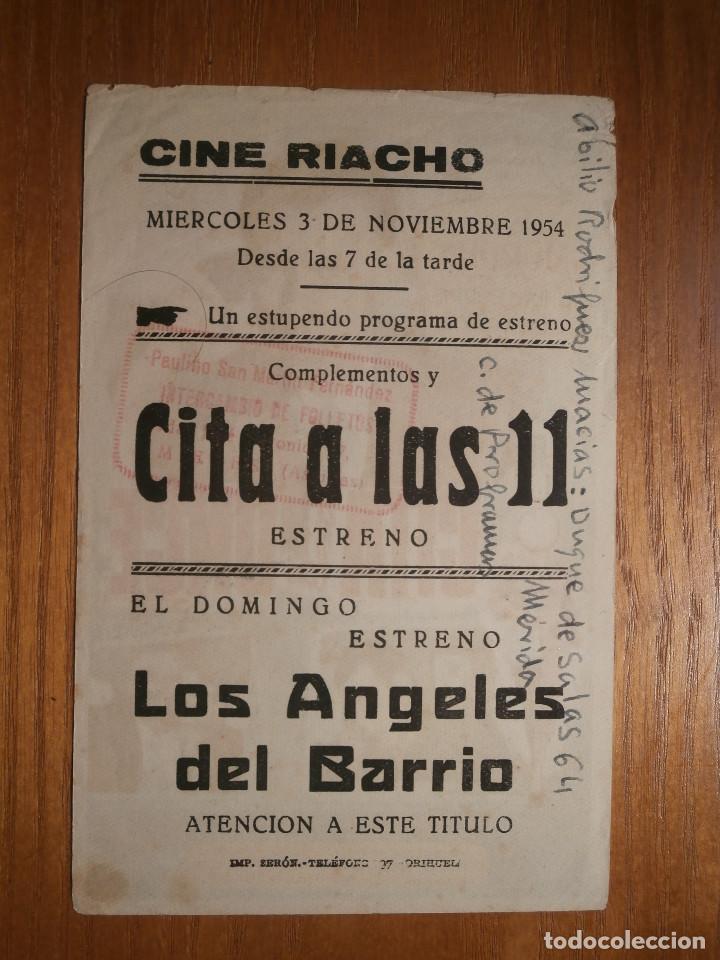 Cine: FOLLETO DE MANO Cine - PELÍCULA, FILM - Largometraje - Cita a las Once - 11 - Cine Riacho, Orihuela - Foto 2 - 204834405