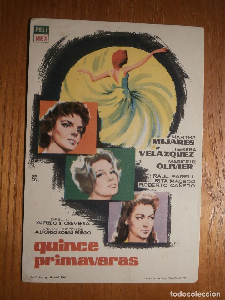 FOLLETO DE MANO CINE - PELÍCULA, FILM - LARGOMETRAJE - QUINCE PRIMAVERAS (Cine - Folletos de Mano - Drama)