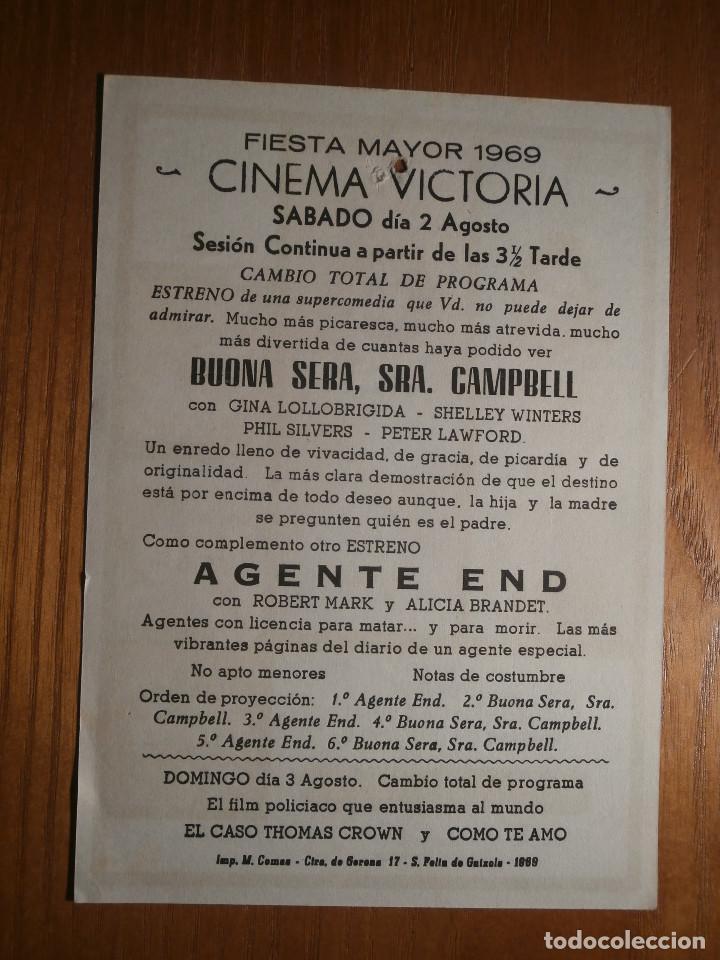 Cine: FOLLETO DE MANO Cine - PELÍCULA, FILM - Largometraje - Buona sera, Sra. Campbel - Cine Victoria - Foto 2 - 204835572
