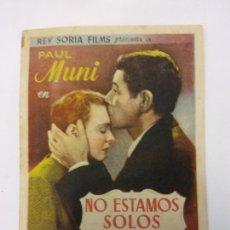 Cine: NO ESTAMOS SOLOS. PAUL MUNI. JANE BRYAN. WARNER BROS.. Lote 204968295