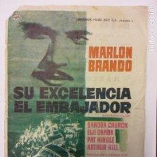Cine: SU EXCELENCIA EL EMBAJADOR. MARLON BRANDO. SANDRA CHURCH. UNIVERSAL FILMS.. Lote 204968566