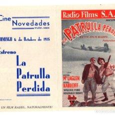 Cine: FOLLETO DE MANO LA PATRULLA PERDIDA. VICTOR MCLAGLEN - BORIS KARLOFF. CINE NOVEDADES, PAMPLONA 1935. Lote 205016475