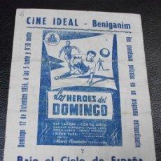 Cine: LOS HEROES DEL DOMINGO Y BAJO EL CIELO DE ESPAÑA GUSTAVO ROJO PROGRAMA DE CINE TOROS BENIGAMIN. Lote 205102926