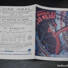 Cine: LO MEJOR ES REIR PROGRAMA DE CINE CON IMPERIO ARGENTINA - CINE IDEAL ESTRENO. Lote 205107688