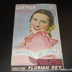 Cine: 1939 CARMEN LA DE TRIANA PROGRAMA DE CINE CON IMPERIO ARGENTINA FLAMENCO RAFAEL RIVELLES MANUEL LUNA. Lote 205113582