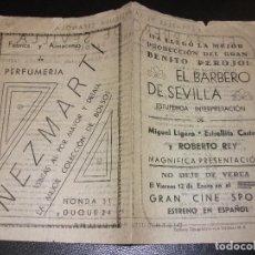 Cine: EL BARBERO DE SEVILLA PROGRAMA DE CINE ESTRELLITA CASTRO MIGUEL LIGERO ROBERTO REY - CINE SPORT. Lote 205127022