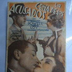 Cine: LA CENA DE LOS ACUSADOS 1934 CON PUBLICIDAD DEL CINE GALAXIA WILLIAM POWELL, MYRNA LOY, MAUREEN O'SU. Lote 205132005