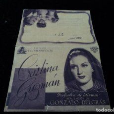 Cine: PROGRAMA DOBLE CRISTINA GUZMAN PROFESORA D IDIOMAS.MARTA SANTA-OLALLA CINE COLISEO LIBRERIA AGUADO. Lote 205157763