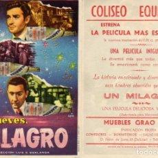 Cine: FOLLETO DE MANO LOS JUEVES MILAGRO. COLISEO EQUITATIVA ZARAGOZA. Lote 242409265