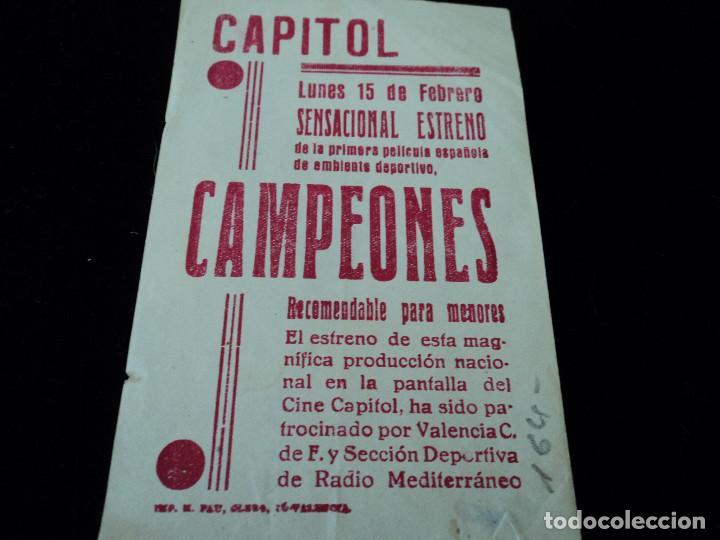 Cine: Campeones, Fútbol, Jacinto Quincoces, Ricardo Zamora, Guillermo Gorostiza CINE CAPITOL VALENCIA - Foto 2 - 205173396
