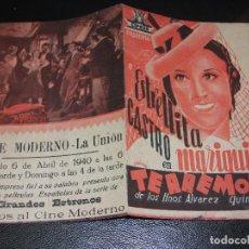 Cine: 1940 MARIQUILLA TERREMO PROGRAMA DE CINE CON ESTRELLITA CASTRO A.VICO CINE MODERNO LA UNION MURCIA. Lote 205258895