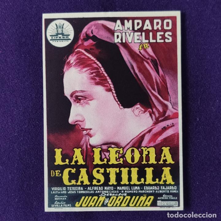 PROGRAMA DE CINE ORIGINAL. LA LEONA DE CASTILLA. AMPARO RIVELLES. SIMPLE. (Cine - Folletos de Mano - Clásico Español)