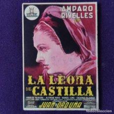 Cine: PROGRAMA DE CINE ORIGINAL. LA LEONA DE CASTILLA. AMPARO RIVELLES. SIMPLE.. Lote 205283030