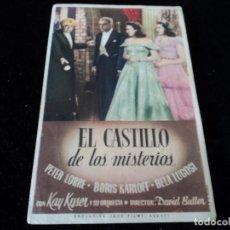 Cine: EL CASTILLO DE LOS MISTERIOS.PETER LORRE BORIS KARLOFF BELA LUGOSI. Lote 205353351