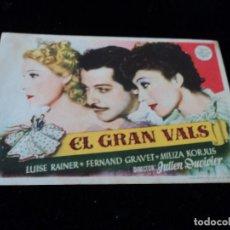 Cine: EL GRAN VALS - LUISE RAINER, FERNAND GRAVET, MILIZA KORJUS. Lote 205354551