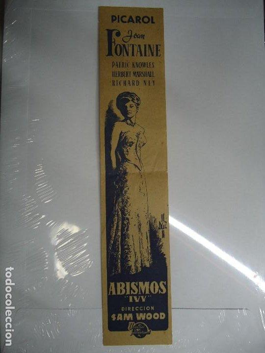 ABISMOS IVY 1947 RARO PROGRAMA MIDE 29 X 6 CM. PICAROL JOAN FONTAINE, PATRIC KNOWLES, HERBERT MARSHA (Cine - Folletos de Mano - Suspense)