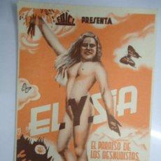 Cine: ELYSIA PARAISO DE LOS NUDISTAS AÑOS 40 EDICI PROGRAMA EN PAPEL GRUESO MEDIDAS 9X14 CM EN MUY BUEN. Lote 205373936