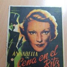 Cine: ANTIGUO PROGRAMA DE CINE ANNABELLA CENA EN EL RITZ MURCIA PARQUE 1942. Lote 205386460