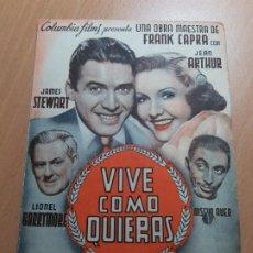 Cine: ANTIGUO PROGRAMA DE CINE VIVE COMO QUIERAS COLUMBIA FILMS MURCIA 1941. Lote 205394241