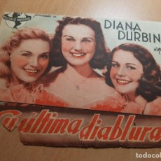 Cine: ANTIGUO PROGRAMA DE CINE SU ULTIMA DIABLURA DIANA DURBIN UNIVERSAL MURCIA 1942. Lote 205396378