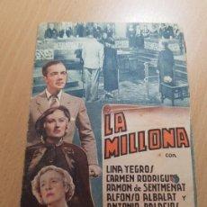 Cine: ANTIGUO PROGRAMA DE CINE LA MILLONA SELECCIONES CAPITOLIO HUGUET 1940. Lote 205396612