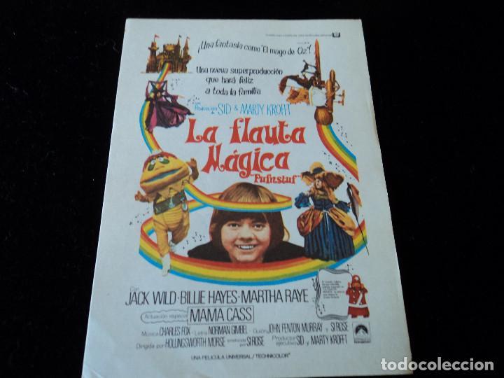 LA FLAUTA MAGICA JACK WILD - BILLIE HAYES - MARTHA RAYE - BILLY BARTY, CINE HESPERIDES (Cine - Folletos de Mano - Infantil)