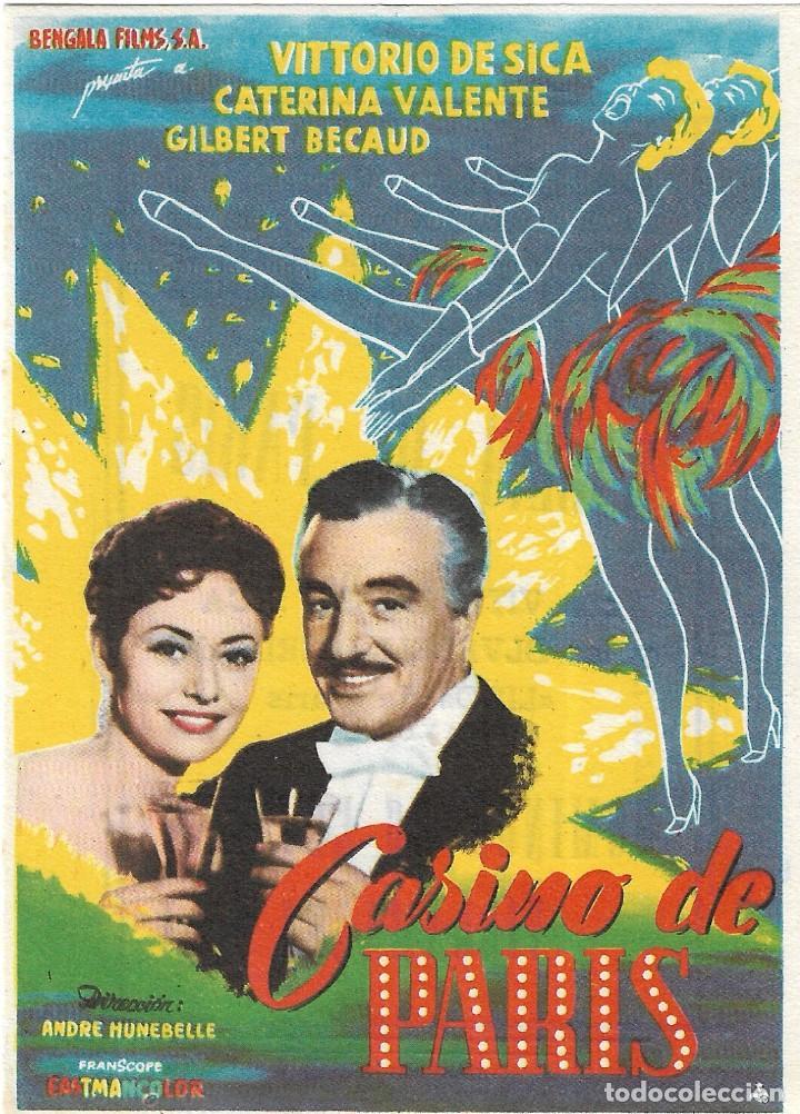 PN - PROGRAMA DE CINE - CASINO DE PARÍS - VITTORIO DE SICA - TEATRO VILLAMARTA JEREZ DE LA FRONTERA (Cine - Folletos de Mano - Musicales)